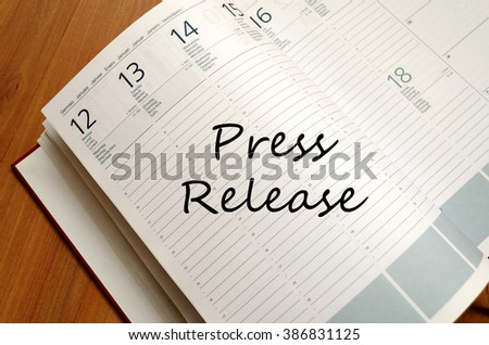 Press release text concept write on notebook  - stock photo