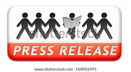 press release wtih breaking hot and latest news items button or icon - stock photo