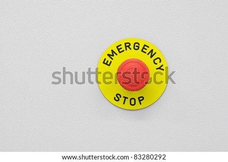 Press the emergency stop button - stock photo