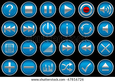Pressed blue Control panel buttons isolated on black