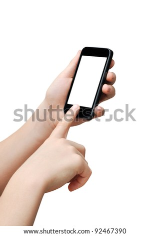 Pressing a button on a smart phone, touch screen, clipping path - stock photo