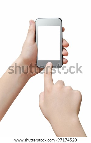 Pressing a button on smartphone, touch screen, clipping path - stock photo