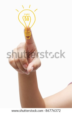 pressing light bulb - stock photo
