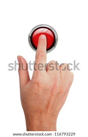 Pressing STOP button - stock photo
