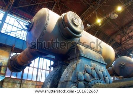pressure - compressive tank at heavy industry hall complex - stock photo