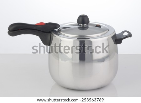 Pressure Cooker on white background - stock photo