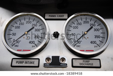 Pressure gages used to measure in per square inch - stock photo