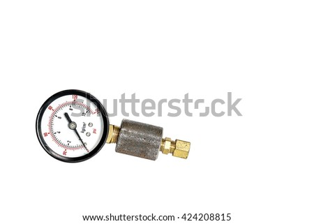 Pressure gauge fabricated pipe coupling - stock photo