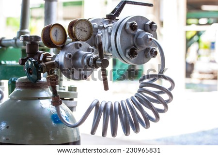 pressure gauge for control nitrogen pressure in let and out let - stock photo