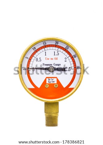 Pressure gauge measuring instrument of pressure in the pipeline isolated on white background.  - stock photo