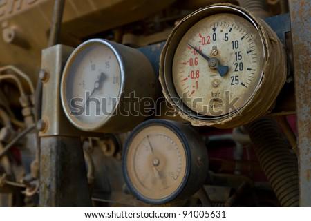 Pressure gauge of fire truck - stock photo
