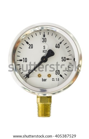 """Pressure gauge range 0-60 Bar size 2.5"""" bourdon tube type isolate on white with clipping path - stock photo"""