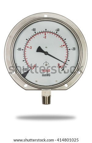 Pressure gauge stainless steel body burdon tube type in inH2o unit isolate on white with clipping path  - stock photo