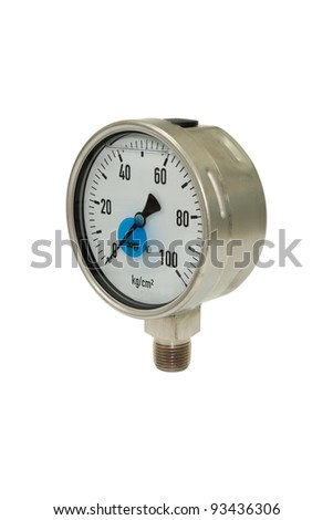 Pressure gauge with a zero reading isolated on white.