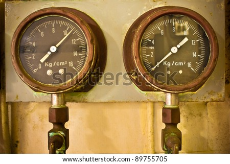 Pressure Gauges - stock photo