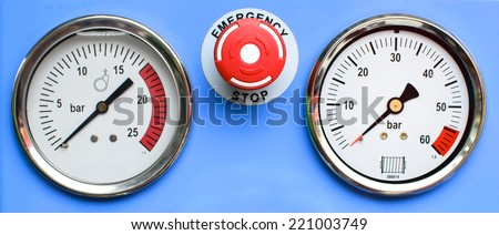 Pressure Gauges with button emergency - stock photo