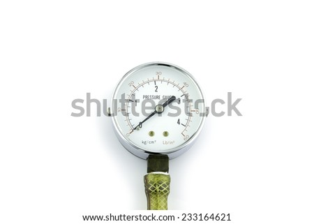 Pressure guage on white background