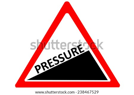 Pressure increasing warning road sign isolated on pure white background - stock photo