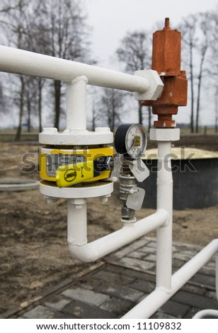 Pressure meter in gasoline station - stock photo