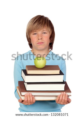 Preteen boy with a many books tired isolated on white background - stock photo