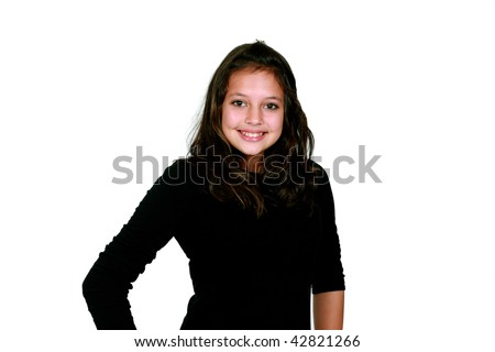 preteen girl with long dark hair smiling - stock photo