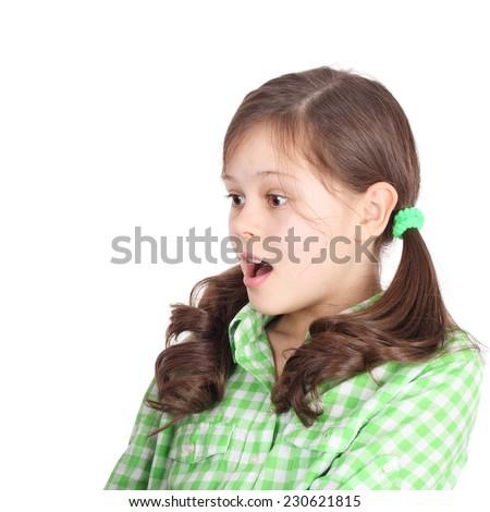 preteen pretty surprised girl closeup - stock photo