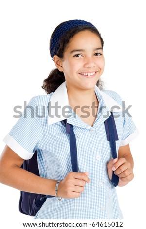 preteen schoolgirl wearing uniform and carrying schoolbag over white - stock photo