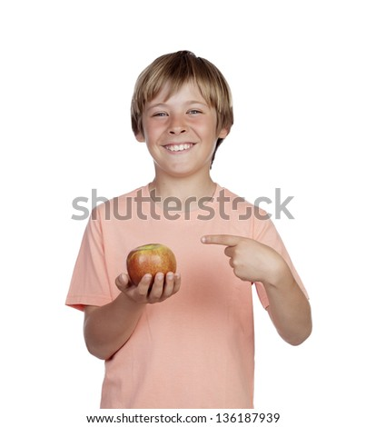 Preteen with a red apple isolated on white background - stock photo