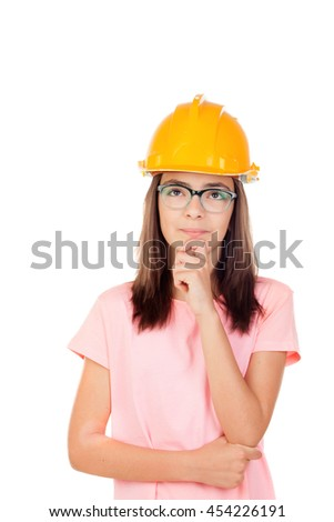 Preteen with construction helmet isolated on white background - stock photo