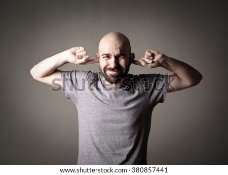 Pretending to be deaf - stock photo