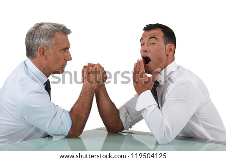 Pretentious young man assuming he will be victorious - stock photo