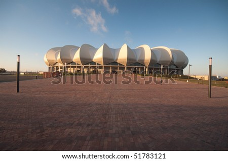 PRETORIA - APRIL 3: South Africa will host the next soccer world cup. Here a view of the beautiful new Porth Elizabeth stadium dedicated to Nelson Mandela, April 3, 2010 in Pretoria South Africa - stock photo