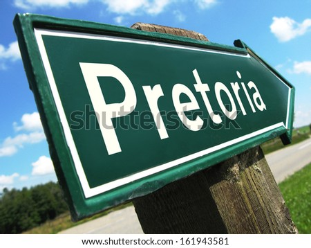 Pretoria road sign - stock photo