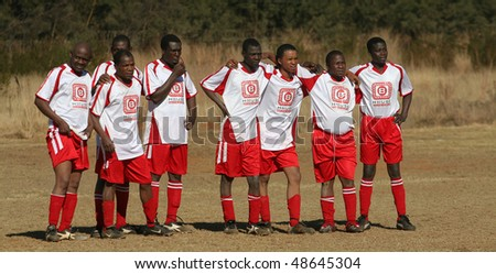 PRETORIA, SOUTH AFRICA - FEBRUARY 6: Team B-House awaits a penalty kick by rivals Timpro. Soccer fever is running high with the world cup only weeks away. February 6, 2010 in Pretoria, South Africa - stock photo