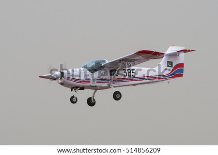 PRETORIA, SOUTH AFRICA-SEPTEMBER 17 2016: The Pakistan produced Super Mushshak light aircraft being demonstrated at the African Air Defense show at AFB Waterkloof