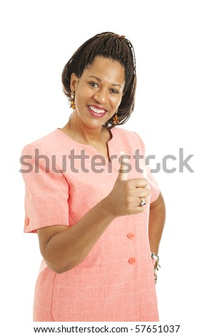 Pretty african-american businesswoman giving the thumbs up sign.  Isolated on white.