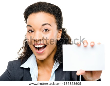 Pretty African American Businesswoman holding placard isolated on white background - stock photo