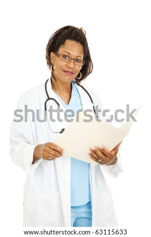 Pretty african-american doctor wearing glasses and holding a medical chart.  Isolated on white.