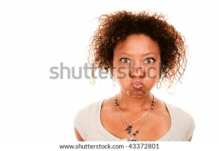 Pretty African American Woman Holding Her Breath - stock photo
