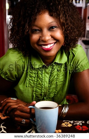 Pretty African American Woman in Bright Green Blouse - stock photo