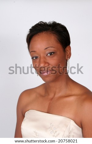 Pretty african american woman in formal dress - stock photo