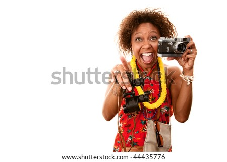 Pretty African-American Woman Tourist with Binoculars and Camera - stock photo