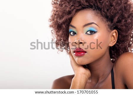 pretty african american woman with beauty makeup - stock photo