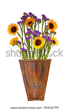 Pretty Arrangement of Sunflowers in a Wooden Vase, Isolated, white