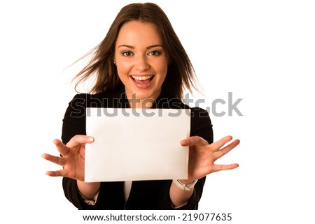 Pretty asian caucasian woman holding a white card isolated - stock photo