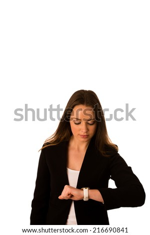 Pretty asian caucasian woman looks watch gesture being late isolated - stock photo