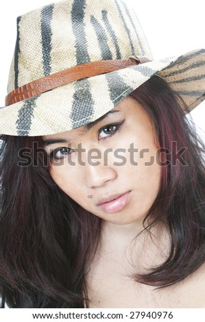 pretty asian gil in camouflage straw hat