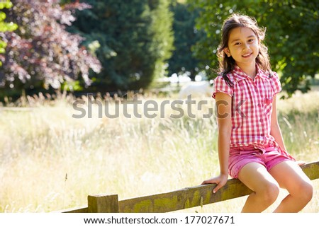 Pretty Asian Girl Sitting On Fence In Countryside - stock photo