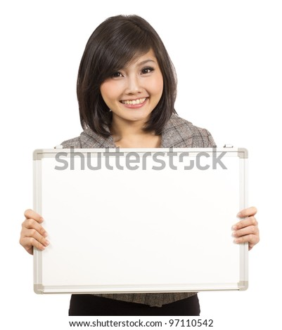 pretty Asian girl with showing whiteboard - stock photo