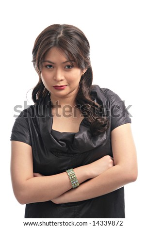 pretty asian lady with a mean smile